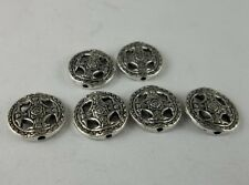 30pcs Tibetan silver Round flowers Spacer bead 14x3mm