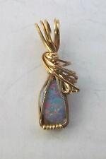 Pendant Opal Australian Blue 25mm x 7mm 14K gold filled wire  Ap413