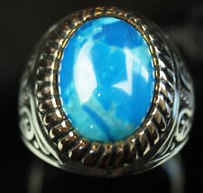 Mens 925 Silver/Simulated Turquoise Men's Ring Sz 11 US