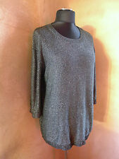 Womens M L 12 14 16 metallic long jumper vintage retro disco top dress grunge