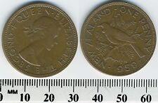 New Zealand 1959 - 1 Penny Bronze Coin - Queen Elizabeth II - Tui Bird