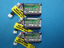 3X TURNIGY NANO-TECH 260mAh 1S 3.7V 35C 70C LIPO BATTERY MICRO WALKERA QUAD HELI