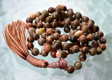 Stimulates Solar plexus Heart and Throat chakra Ocean Jasper Hand Knotted Mala
