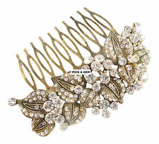 Vintage Gold Austrian Crystal Impressive Embellished Hair Comb Wedding Bridal