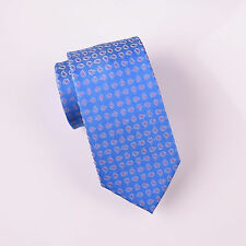 Light Blue Small Stylish Paisley Floral 3 Inch Skinny Woven Tie Formal Business