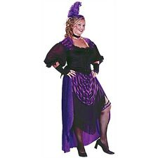 Ladies Purple Moulin Rouge Wild West Saloon Burlesque Fancy Dress Size 16-20
