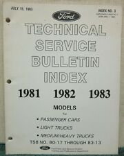 1983 Ford Technical Service Bulletin Index 1981-1983 Models Index No. 3