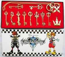 12pcs/Set Kingdom Hearts II KEY BLADE Necklace Pendant+Keyblade+Keychain Gold