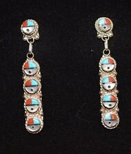 Earrings Sunfaces Native American Turquoise Coral & Etc Sterling Silver Zuni