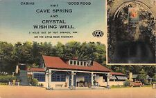 Linen Postcard Cave Spring & Crystal Wishing Well in Hot Springs Arkansas~111609