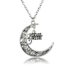 Women Dress Moon Hollow Out  Special Sister Charm Vintage Necklace Pendant Gift
