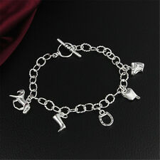 Horse Pendant Boots Bangle Charm Bracelet Chain Sterling Jewelry Silver Gift