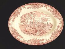 """Brook Pink 12 1/2 """" Serving Plate Oval Platter Queen's China Cottage Scene"""