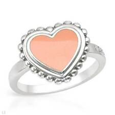 MORGAN DE TOI  Lovely Heart Ring Crafted in Pink Enamel and 925 Sterling Silver