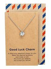 Elephant Necklace, Good Luck Animal Charm Pendant Jewelry, Chain 16-18 inches