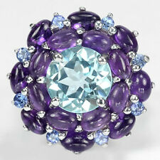 Silver 925 Genuine Natural Amethyst, Topaz & Tanzanite Ring Sz T (US 9.75)