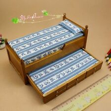 1/12 dollhouse miniature wooden trundle bed Guest Bed