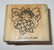 Angel Star Rubber Stamp Stampin' Up! Retired Love Girl Buttons Quilted #2