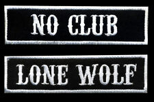 No Club Lone Wolf Patch Set of 2 Motorcycle Biker Car Club MC Black White