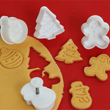 4pcs Bento Christmas Theme Cookie Fondant Gum Paste Cutter Plunger Mold Set
