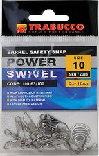 GIRELLA CON MOSCHETTONE BARREL SAFETY SNAP 100-63 SIZE 08 TRABUCCO SWIVEL PESCA