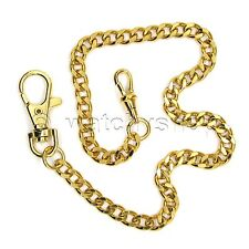 "Vintage Gold Tone Heavy Clasp Brass Pocket Watch Chain Fob 14"" Men Accessory F02"