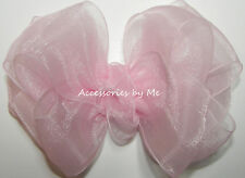 Organza Hair Bow Frilly Light Pink Sheer Ribbon Girls Baby Pageant Accessories