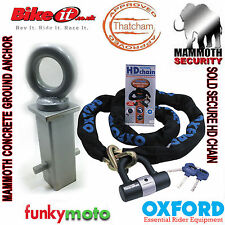 CONCRETE ANCHOR & OXFORD SOLD SECURE MOTORCYCLE 1M LONG CHAIN LOCK SECURITY PACK