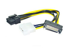 1PCS 15 Pin SATA IDE to 8Pin(6in+2pin) PCI-E Power Supply Cable for Video Card