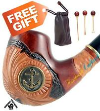 """HAND CARVED Tobacco Smoking Pipe/Pipes """"ANCHOR""""+ CLEANING TOOLS in GIFT!"""