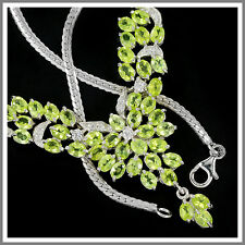 NATURAL  APPLE GREEN PERIDOT & WHITE CZ STERLING 925 SILVER NECKLACE 18