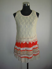 korean lace pleated short dress cream red orange