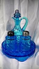 "Rare DUGAN ICE BLUE ""S"" REPEAT CRUET CASTOR SET  lot#139"