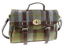 Ladies 100% Harris Tweed Green Tartan Fashion Satchel Bag LB1001 Col15