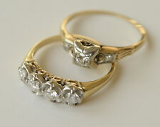 Pair - Diamond & Gold wedding rings - 80 years old antique