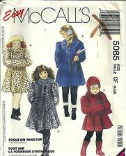 McCall's Sewing Pattern 5085 Child's Lined Coat Hooded Scarf Muff Size 4 5 6 UC