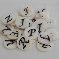 5 Natural Shell Buttons - Sewing - Alphabet Letter - Initial