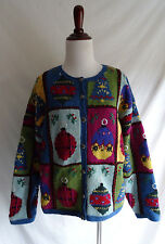 Talbots Petites L Hand Knit Holiday Christmas Ornament Patchwork Tinsel Sweater
