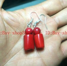 New 10x15mm cylinder Red Coral Gems Earrings