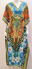 PLUS SIZE FLORAL GIRAFFE ZEBRA ANIMAL PRINT KAFTAN MAXI DRESS BLUE 26 28 30