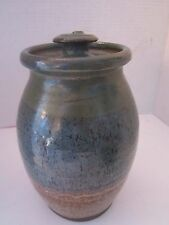 "Studio Pottery Jar with Lid. signed. glazed blue & brown. 8 1/2"" tall. 6"" wide."