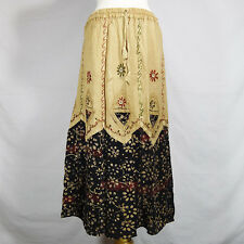 Traditional Indian Rayon Skirt with Batik dot pattern Black and Gold