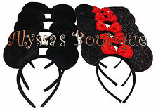 20 pc Minnie Mickey Mouse Ears Headbands Black With Bows Birthday Favors Costume