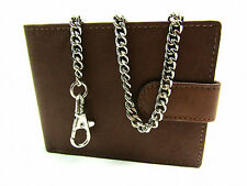 Mens Ladies High Quality Real Leather Chain Wallet Coin Pouch Credit Card Holder