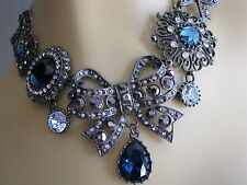 BETSEY JOHNSON MIDNIGHT ROMANCE CRYSTAL BIG BOW CHARM STATEMENT NECKLACE~RARE!
