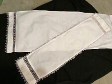 PAIR OF VINTAGE WHITE TABLE RUNNERS/DRESSER SCARVES WITH COLORFUL TATTING TRIM