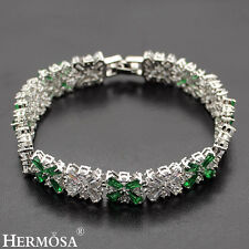 75% OFF Hermosa® New 925 Sterling Silver Green Emerald Clear Topaz Bracelets 7""