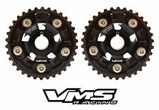 2 BLACK VMS RACING BILLET ADJUSTABLE CAM GEARS FOR 94-97 HONDA DELSOL VTEC B16