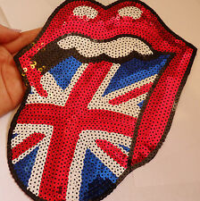 large great Britain lip patches sequin applique patch motif iron on sew on UK