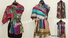 5Pc Wholesale Lot Kantha Sik Scarf Reversible Assorted Patchwork Stole Neck Wrap
